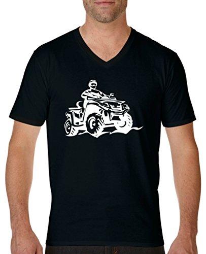 Comedy Shirts - Quad ATV - Herren V-Neck T-Shirt - Schwarz/Weiss Gr. XXL