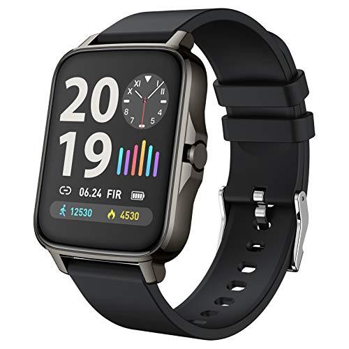 FMSBSC Smartwatch für Damen Herren 1.69 Zoll HD Farbdisplay Fitnessuhr Smart Watch mit 7 Trainingsmodi, Fitness Tracker mit Pulsmesser Blutdruckmessung Schlafmonitor, Intelligente Uhren Sport,Schwarz