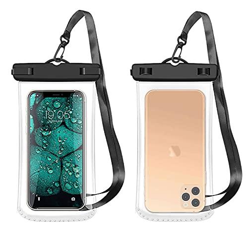 Funda Móvil Impermeable - Meirrai Bolsa Impermeable Movil, Funda Movil Colgar Cuello 2 unidades, 7 pulgadas, IPX8, Colgante para Movil, Compatible con iPhone 11, Galaxy, Xiaomi, Google y más