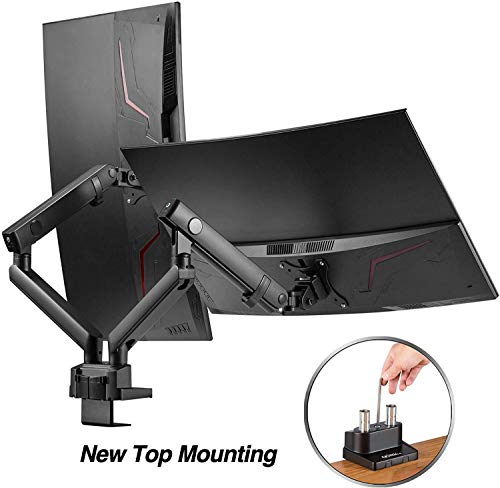AVLT-Power Dual 32' Monitor Desk Stand - Easy Installation New Top Mounting - Mount Two 17.6 lbs Computer Monitors on 2 Full Motion Adjustable Arms - Organize Your Work Surface with VESA Monitor Mount
