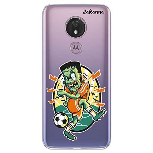 dakanna Custodia Compatibili con [ Motorola Moto G7 Power ] Sfondo Trasparente con Disegni [ Zombie Che Gioca a Football ] in Morbida Silicone TPU Flessibile, Shell Case Cover in Gel per Smartphone