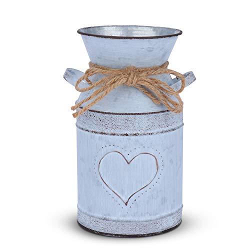 Saclife Shabby French Style Milk Can Landhaus Rustikale Vase mit einzigartigem Herz und Seil Design für Zuhause Dekoration