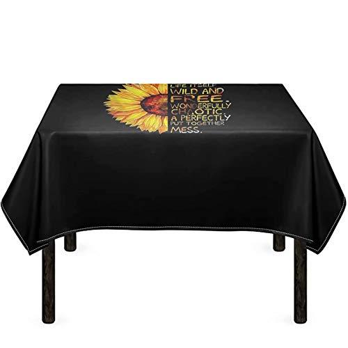 chaqlin Mantel rectangular impermeable resistente a las manchas de algodón y lino, cubierta de mesa con palabras de girasol para interior y exterior de 125 x 170 cm