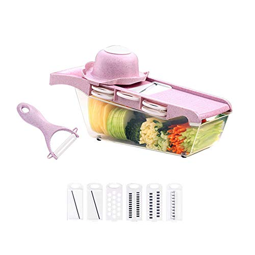 6 in 1 Vegetable and Onion Choppers, Mandolin Slicer and Food Dicer, Multifunctional Cutter Includes Mandoline, Spiral and Ribbon Slicer,Best for Potatoes, Carrots and Tomatoes