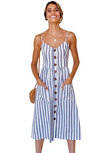 OMZIN Damen Kleid Strandkleid T-Shirtkleid Bedrucktes Kleid Vintage Blumenkleid Schulterfrei Rückenfrei Blumenkleid Sexykleid Hellblue M