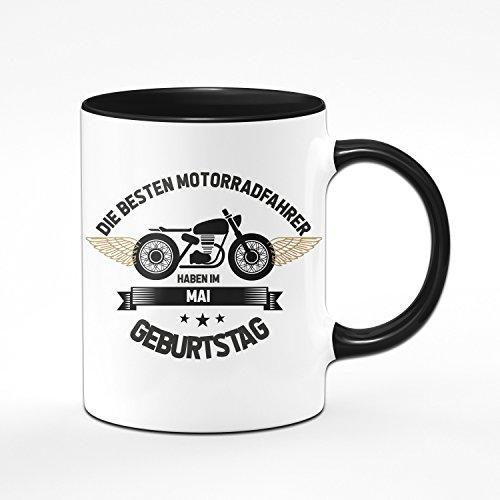 Motorrad Tasse Motrradfahrer haben im Mai Geburtstag - Geschenk für Motorradfahrer, Motorradfans - Geburtstagsgeschenk/Geschenkideen für Männer - Monat wählbar (Mai)