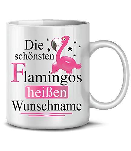 Golebros Die schönsten Flamingos heißen Wunschname 6294 Fun Tasse Becher Kaffeetasse Kaffee Mädchen Büro Geburtstag Flamingo Geburtstagstasse Weihnachten personalisiert personaliersierbar