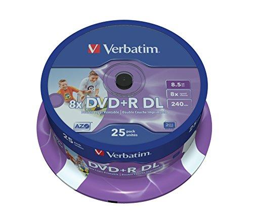 Verbatim DVD+R Double Layer 8x Speed 8,5 GB, stampabili, confezione da 25