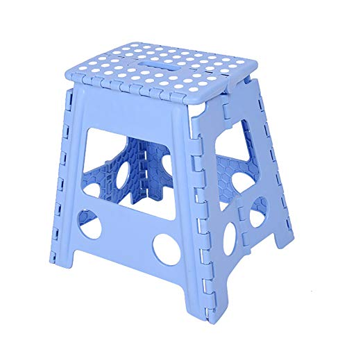 Escabeau pliant, Tabouret pliant robuste de qualité supérieure de 15 pouces de hauteur, pour adultes et enfants, Tabouret de jardinage pour salle de bain Kitchen Garden (blue)