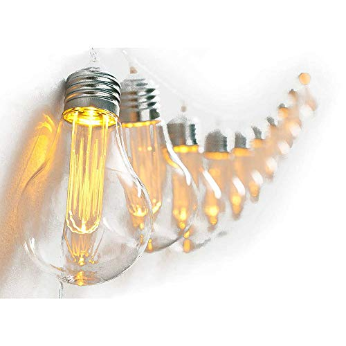 HAB & GUT -LED015- Lichterkette Vintage Edison-Glühbirne 10 Leuchten Batterie mit Timer