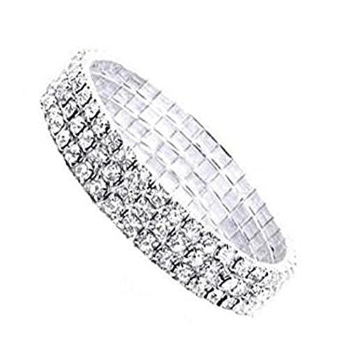 fregthf 3 Filas Diamond Elastic Rhinestone BraceletFashion Style Mujer Pulsera Exquisita 3 Filas Diamón Brazalete Chic Pulsera de Diamante Artificial para Festival Regalos 1pc