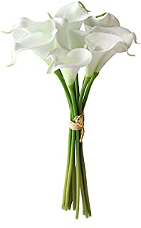 Angel Isabella Real Touch Calla lily-10 Stems Hand-Tied Bouquet-Natural White.