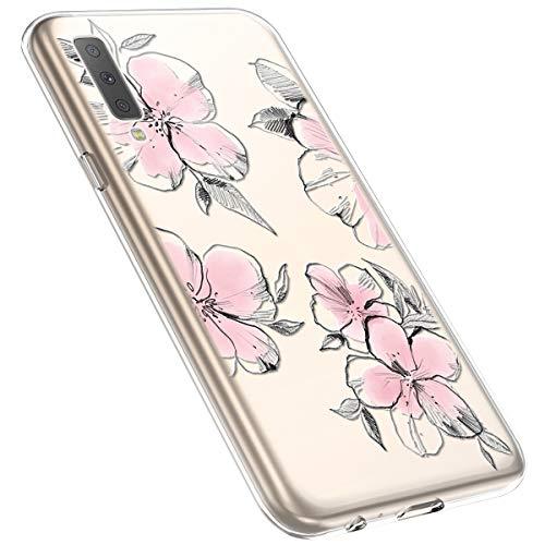 MoreChioce kompatibel mit Samsung Galaxy A7 2018 Hülle,Galaxy A750 Handyhülle Blume,Ultra Dünn Transparent Weiche Silikon Schutzhülle Clear Crystal Rückschale Tasche Defender Bumper,Blumenzweig #28