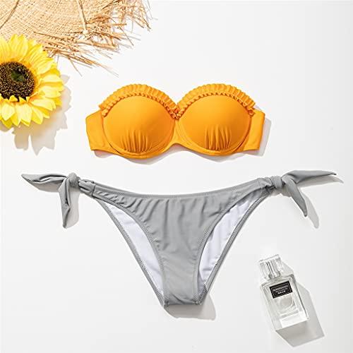 ZHUSHI Conjunto de Bikinis con volantes, traje de baño para mujer, Tanga anudada, biqiunis sexi, traje de baño de playa de verano para nadar de cintura baja para mujer
