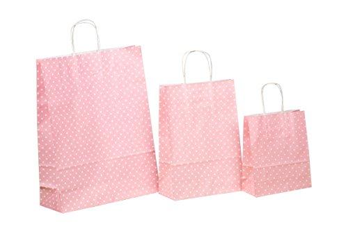 250 Kordel Papiertragetaschen Einkaufstüten aus Papier Geschenktüten mit Papierkordel Henkel rosa rosé mit weißen Punkten Pünktchen Polka Dots Verschiedene Größen zur Auswahl (32+12x40cm)