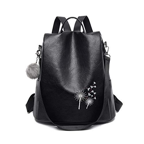 Mochila Backpack Impermeable Mochila De Cuero Negro De Lujo para Mujer, Mochila De Viaje con Bordado De Plumas, Patrón De Flores, Bola De Piel, Mochila Escolar para Niñas, Cal Entrega Rápida Gratuita