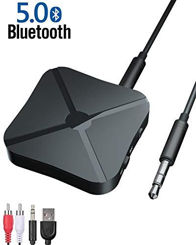 Tokenhigh Bluetooth Adapter 2 in 1 Transmitter Empfänger,Bluetooth 5.0 Adapter Sender Receiver mit RCA & 3.5 mm AUX kompatibel für TV Laptop Stereoanlage Kopfhörer Lautsprecher