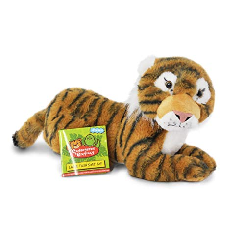 Endangered and Extinct Tiger Plüschtier mit pädagogischem Hangtag, Tiger, Plüschtier, 35 cm, Sumatran-Tiger Stofftier, Kuscheln und Erhaltung