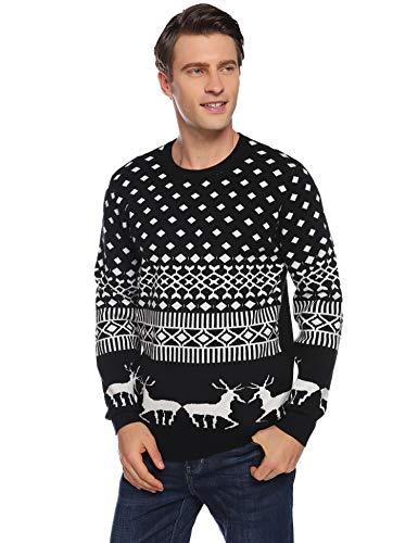 Abollria Herren Weihnachtspullover mit Rentier Karo Muster ,Schwarz,XL