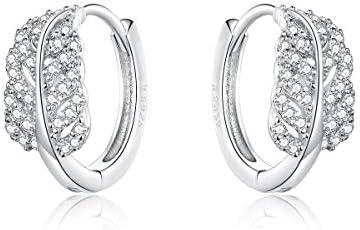 Hypoallergenic Hoop Earrings for Women Sterling Silver Love Heart Hoops Earrings Devil eye Earrings product image