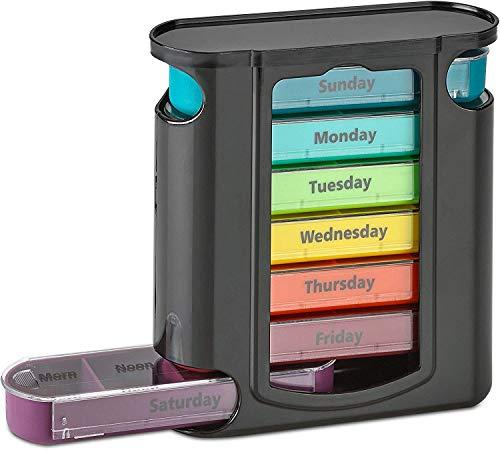 Organizador de píldoras diario apilable – (4 veces al día) recordatorio semanal de medicamentos – Pastillero semanal premium AM/PM con 7 cajas apilables individuales
