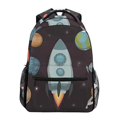 Planeten Cartoon Rakete Studentenrucksack Kinderrucksack Büchertasche Schülerrucksack mit Laptop Rucksäcke für die Reise Teen Mädchen Jungs
