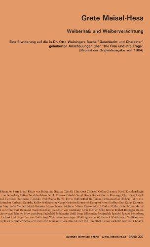 """Weiberhaß und Weiberverachtung: Eine Erwiderung auf die in Dr. Otto Weiningers Buche """"Geschlecht und Charakter"""" geäußerten Anschauungen über """"Die Frau ... [Reprint der Originalausgabe von 1904]"""