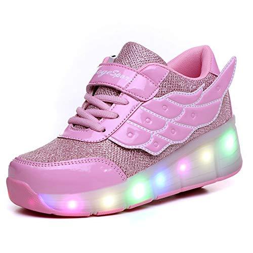 Super kids Pattini a rotelle a LED con ruote luci a LED, luminosi, a doppia ruota, tecniche, scarpe da skateboard Per Unisex – Bambini {Rosa 586d, 39 EU}