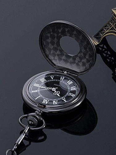 Reloj de Bolsillo de Cuarzo Escala Numeral Romano con Cadena (Negro)