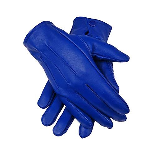 Men's Dress Leather Gloves (Large, Blue)