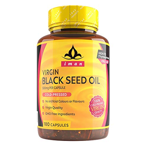 Black Seed Oil (180 Capsules) - High-TQ, MAX Strength 500mg Cold-Pressed- 6 Months Supply - Non-GMO, Natural, 100% Virgin - 500mg 180 Capsules…