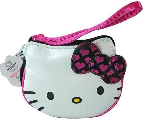 Hello Kitty Face Wristlet Bag With Hearts on Bow - 5