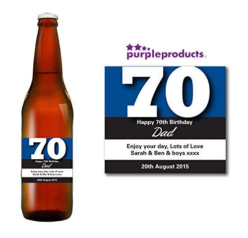 Gepersonaliseerd blauw 70e verjaardag bier fles label cadeau voor vrouwen en mannen