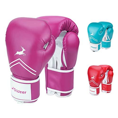 Trideer Pro Grade Boxing Gloves for Women & Kids, Kickboxing Bagwork Gel Sparring Training Gloves, Muay Thai Style Punching Bag Mitts, Fight Gloves