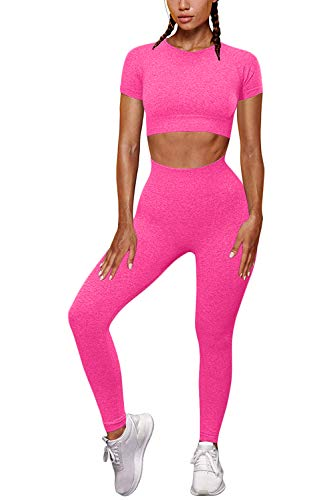 FAFOFA Women Slim Fit Yoga Sets Seamless High Waist Leggings Sport Crop Top Sport Running Outfit Rosy M
