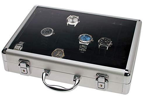SAFE 266-3 ALU Uhrenaufbewahrungsbox Herren mit 18 Uhren-Schmuckhalter in schwarzem Samt - abschließbare Uhren Box mit Glasdeckel und abnehmbaren Uhrenkissen