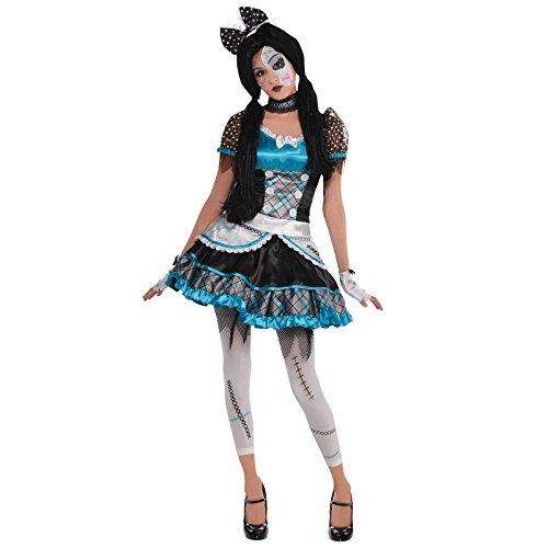 Fancy Dress VIP Ragazze Teenager in Frantumi Bambola Costume Halloween Rotto a Campana Zombie Anna Costume Rotto Porcellana Stile Terrorizzante Horror Vestito - Blu, 14-16 Anni