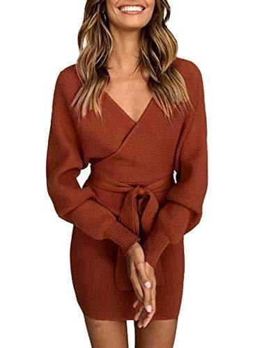 ZIYYOOHY Damen Elegant Pulloverkleid Strickkleid Tunika Kleid V-Ausschnitt Langarm Minikleid Mit Gürtel (S(36), Ziegelrot)