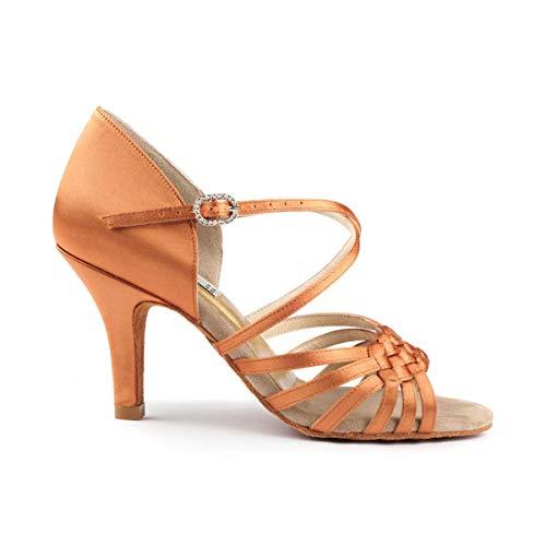 PortDance PD PRO 001 - Zapatos de baile para mujer, color marrón oscuro satinado, 6,5 cm rectos, anchos, fabricados en Portugal, Dark Tan, 36.5 EU