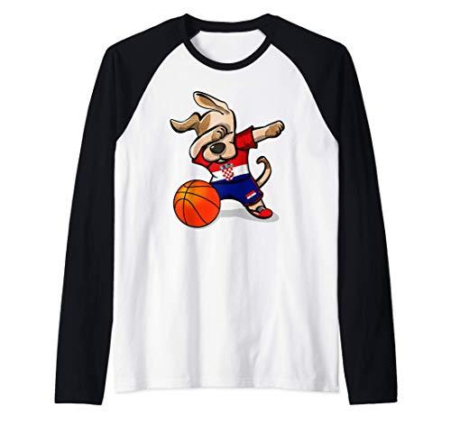 Funny Dabbing Dog Hund Kroatien Basketball Kroatische Flagge Raglan