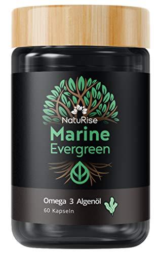 NatuRise Omega 3 Algenöl (60 Kapseln)   Marine Evergreen   Vegan & Natürlich   720g EPA, DPA & DHA pro Kapsel   UV-Glas   ohne Carrageen   Made in Germany