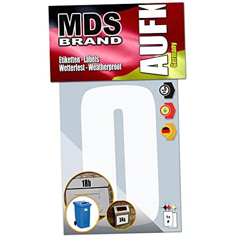 MDS Brand 15cm Zahlen Aufkleber Klebezahlen Selbstklebend Mülltonnen Aufkleber Weiss (0)