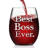 Boss Gift - Best Boss Ever Stemless Wine Glass 15 Oz, Funny Boss Wine Glass for Boss Coworker Friend Manger, Special Office Gift Idea for Bosses Day Christmas Birthday Leaving Retirement Farewell