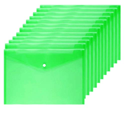 Wiekyze Poly Envelope 12 Pcs Document Envelopes with Snap Button Quality Clear Document Folder for A4 Size (Green)