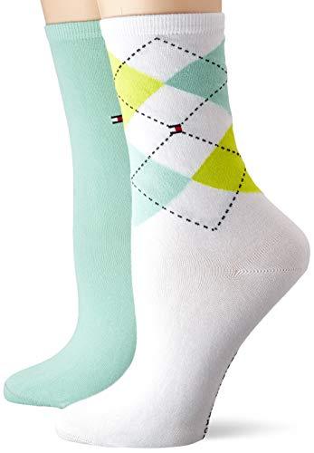 Tommy Hilfiger Damen TH Women Check 2P Socken, Türkis (Mint Leaf 017), (Herstellergröße: 39/42) (2er Pack)