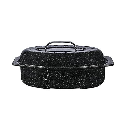 Granite Ware Enamel on Steel 13 in. Covered Oval Roaster, 7 lb. Capacity