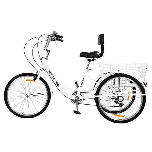 R.ROARING Adult Tricycles Three Wheel Trike Bike Cruiser 7 Speed, 24 inch Wheels, 3 Wheel Bicycles Cruise Trike with Cargo Basket for Seniors, Women, Men (White)