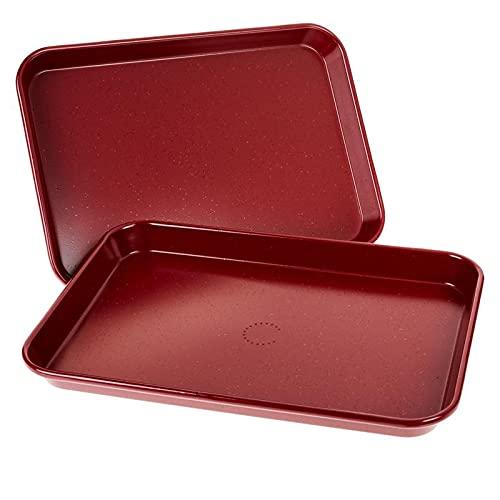 Curtis Stone Dura-Bake Set of 2 9' x 13' Nonstick Sheet Pans - Red