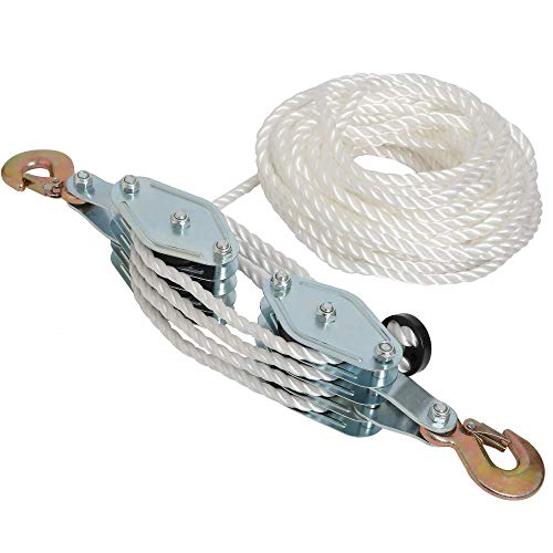 """4000LB 2 Ton 65 Feet of 3/8"""" - Poly Rope Hoist Pulley Block - 7:1 Lifting Power"""