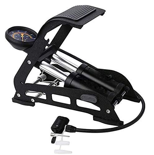 URUN Doppelzylinder-Fußluftpumpe, Hochdruck-Pedalpumpe, Präzisionsmanometer, Robuster Stahlmantel, Multifunktionsadapter, für Fußball, Fahrradbälle, Motorrad, Autos